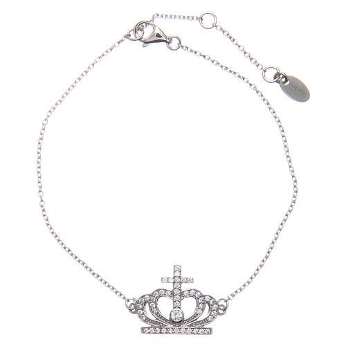 Bracelet AMEN argent 925 rhodié couronne zircons blancs 1