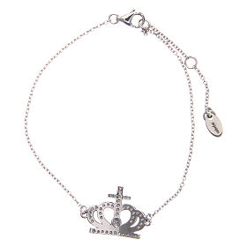 Bracciale AMEN argento 925 rodiato corona zirconi bianchi  s2