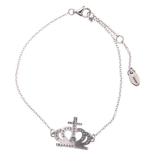 Bracciale AMEN argento 925 rodiato corona zirconi bianchi  2