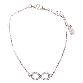 Bracciale AMEN argento 925 rodiato infinito zirconi bianchi s1