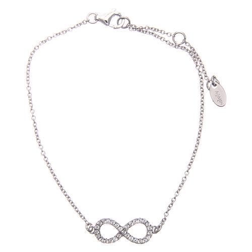 Bracciale AMEN argento 925 rodiato infinito zirconi bianchi 1