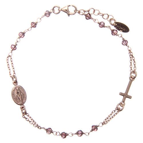 Armband AMEN rosa Silber 925 violetten Kristalle und wunderbare Medaille 1