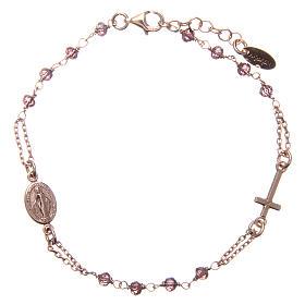 Bracelet AMEN argent 925 rosé médaille croix cristaux violets s1