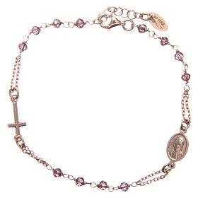 Bracelet AMEN argent 925 rosé médaille croix cristaux violets s2