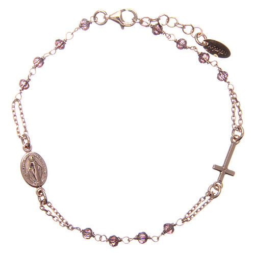 Bracelet AMEN argent 925 rosé médaille croix cristaux violets 1