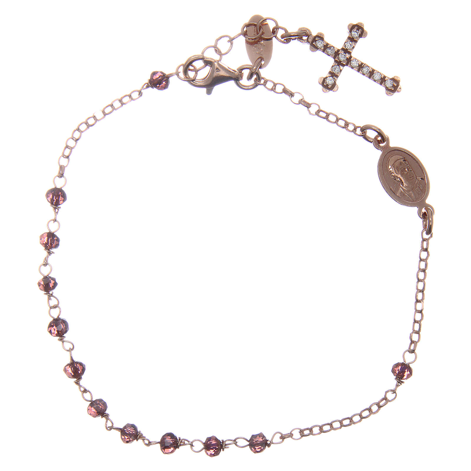 Bracciale AMEN arg 925 rosé medaglietta croce cristalli viola zirconi bianchi 4