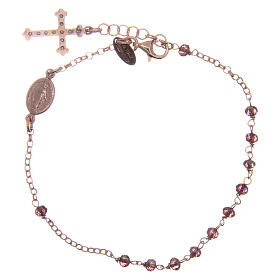 Bracciale AMEN arg 925 rosé medaglietta croce cristalli viola zirconi bianchi s2