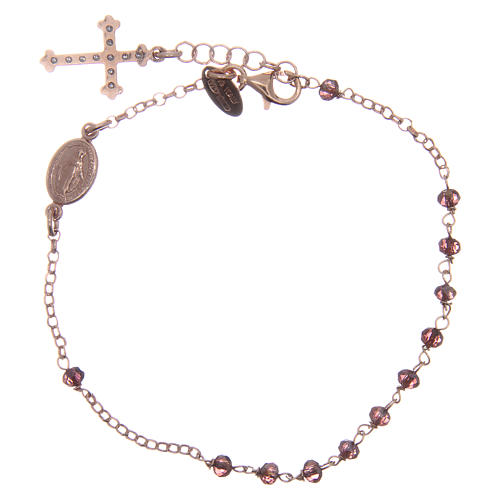 Bracciale AMEN arg 925 rosé medaglietta croce cristalli viola zirconi bianchi 2
