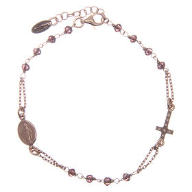 AMEN bracelet in pink 925 silver with purple crystals and cross-shaped charm decorated with white rhinestones s2