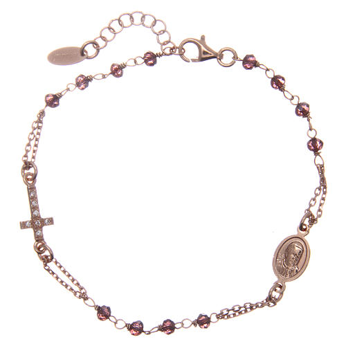 AMEN bracelet in pink 925 silver with purple crystals and cross-shaped charm decorated with white rhinestones 1