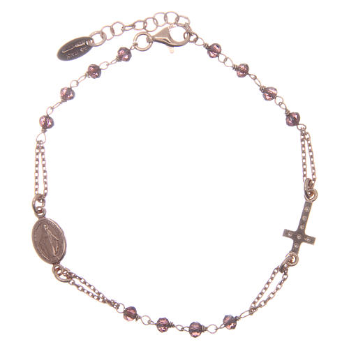 AMEN bracelet in pink 925 silver with purple crystals and cross-shaped charm decorated with white rhinestones 2