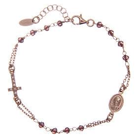 Bracelet AMEN argent 925 rosé cristaux violets  zircons blancs s1