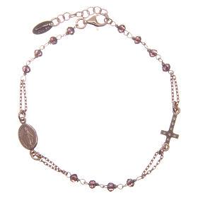 Bracelet AMEN argent 925 rosé cristaux violets  zircons blancs s2