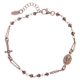 AMEN bracelet in 925 rose silver with purple crystal white zirconia cross s1
