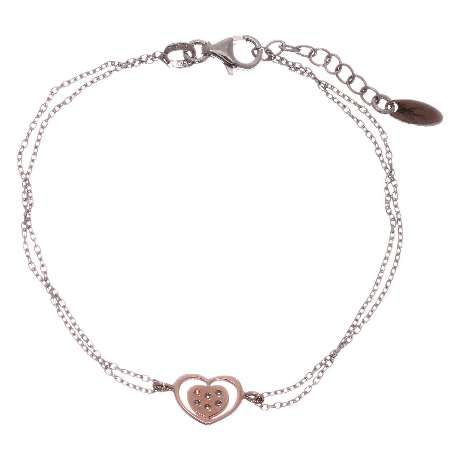 Bracelet AMEN argent 925 rhodié/rosé coeur zircons blancs 4