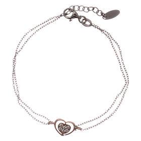 Bracelet AMEN argent 925 rhodié/rosé coeur zircons blancs s1