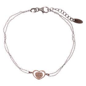 Bracelet AMEN argent 925 rhodié/rosé coeur zircons blancs s2