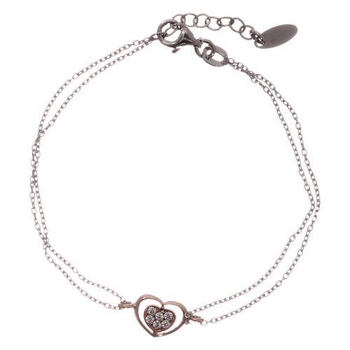 Bracelet AMEN argent 925 rhodié/rosé coeur zircons blancs 1