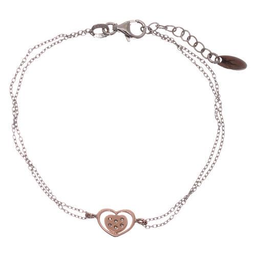 Bracelet AMEN argent 925 rhodié/rosé coeur zircons blancs 2