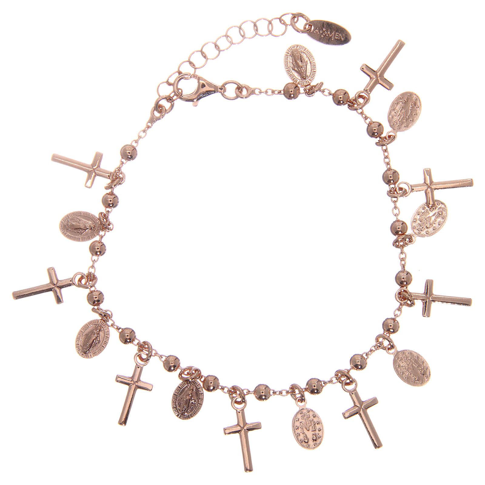 Bracelet AMEN argent 925 rosé breloques croix médailles Miraculeuse 4