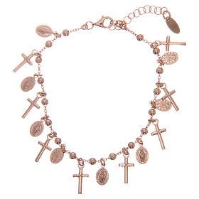 Bracelet AMEN argent 925 rosé breloques croix médailles Miraculeuse s2