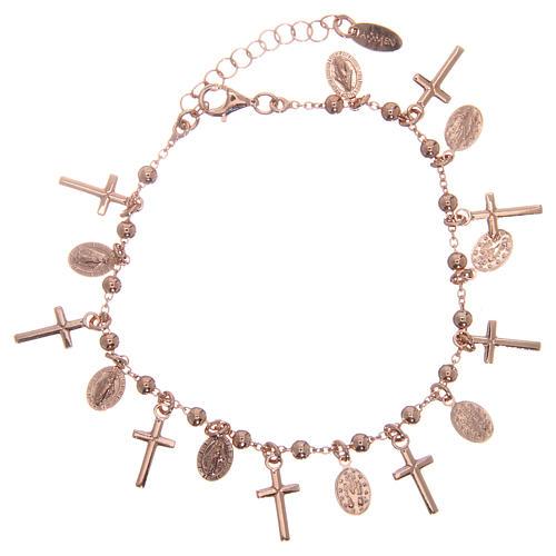 Bracelet AMEN argent 925 rosé breloques croix médailles Miraculeuse 1