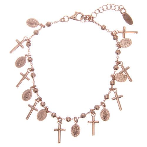 Bracelet AMEN argent 925 rosé breloques croix médailles Miraculeuse 2