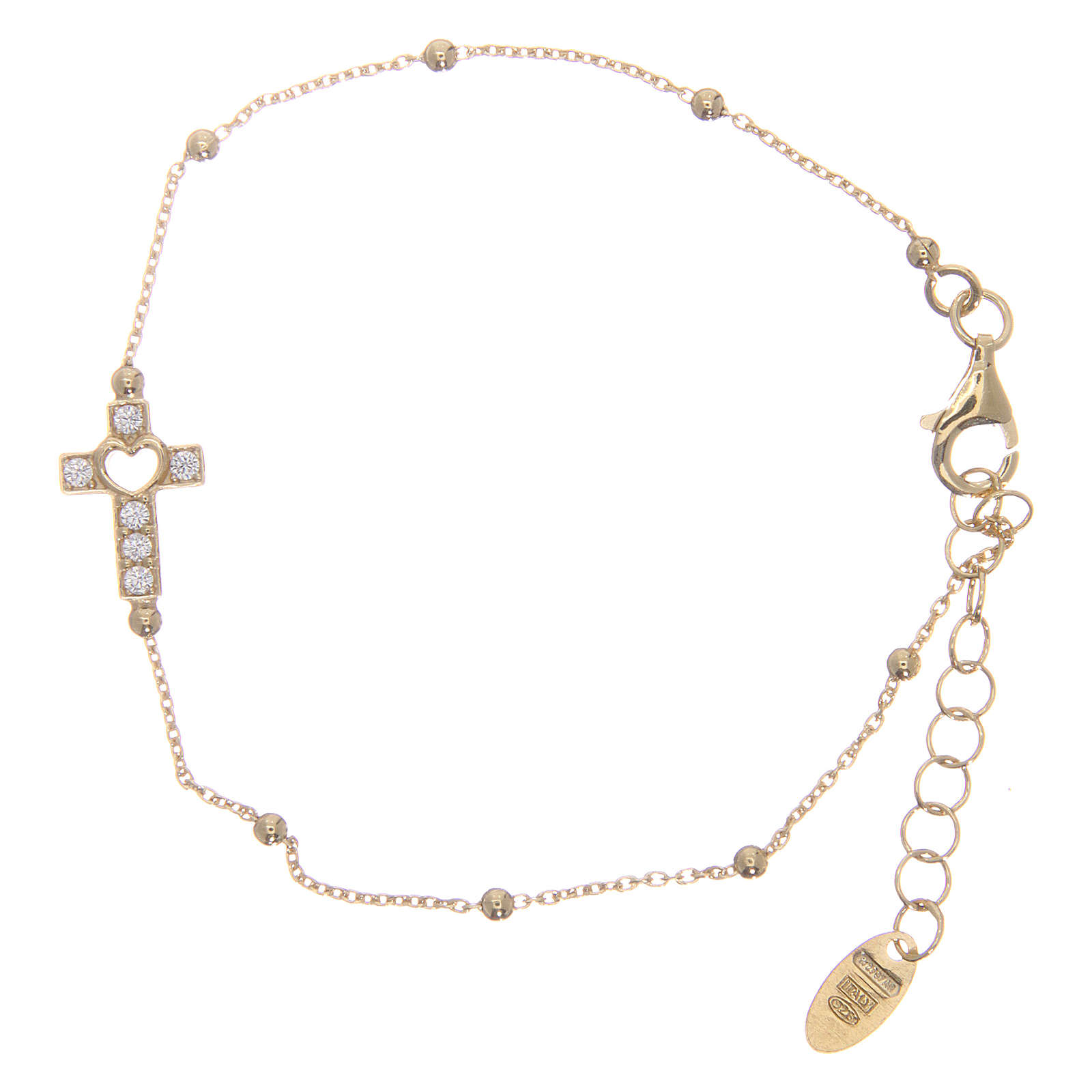 Armband AMEN vergoldeten Silber 925 Kreuz weissen Zirkonen 4