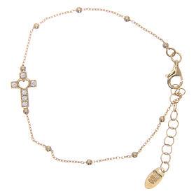 Armband AMEN vergoldeten Silber 925 Kreuz weissen Zirkonen s1