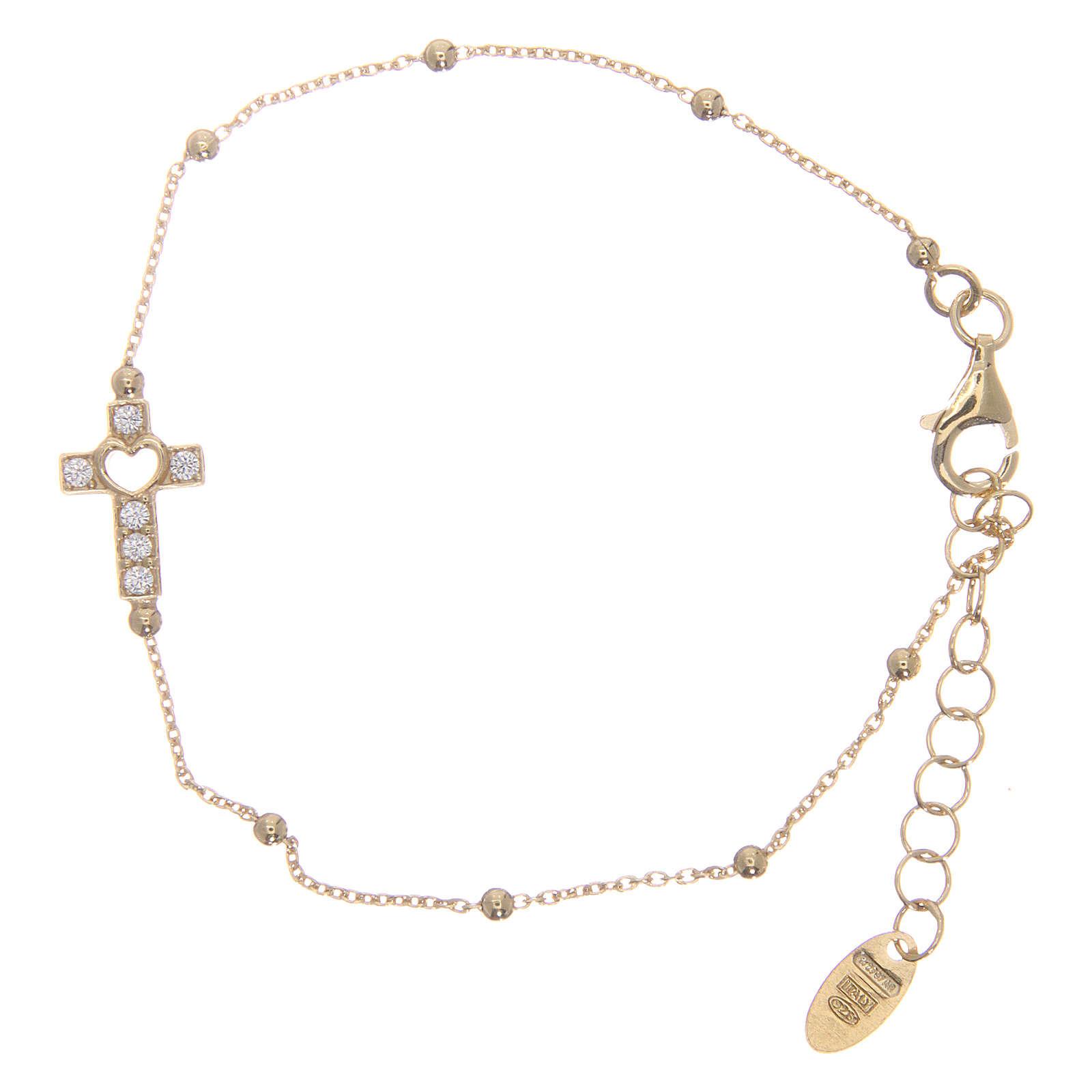 AMEN bracelet in golden 925 silver with white rhinestones 4
