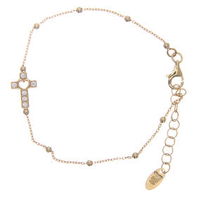 AMEN bracelet in golden 925 silver with white rhinestones s1