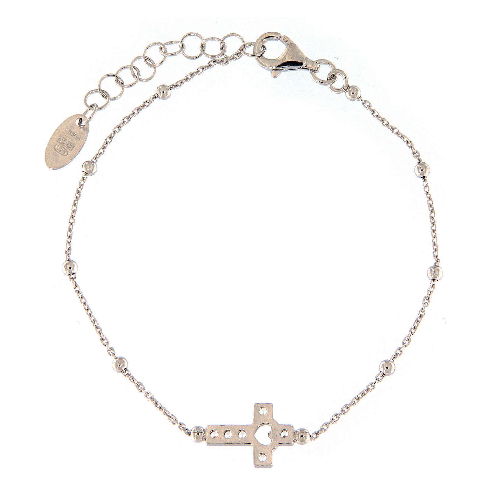 AMEN bracelet in rhodium-plated 925 silver with white rhinestones 4