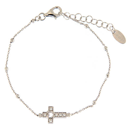 AMEN bracelet in rhodium-plated 925 silver with white rhinestones 1