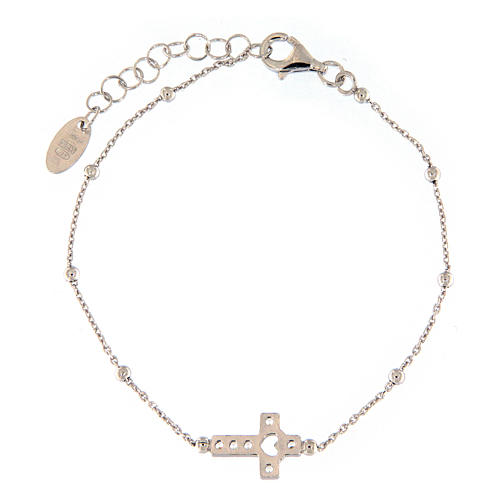 AMEN bracelet in rhodium-plated 925 silver with white rhinestones 2