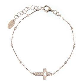 AMEN bracelet in 925 silver with cross white zirconia s2