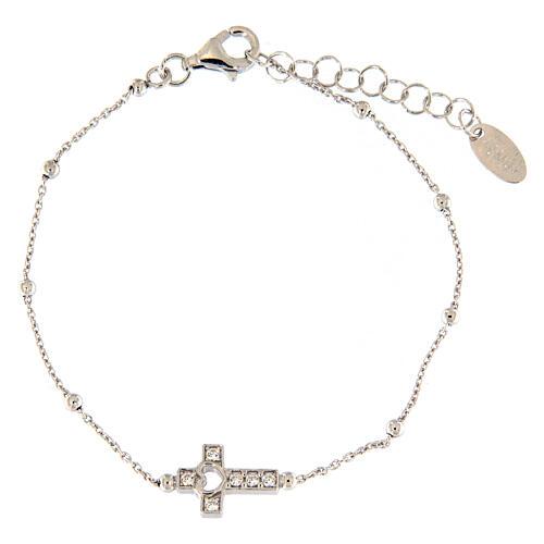 AMEN bracelet in 925 silver with cross white zirconia 1