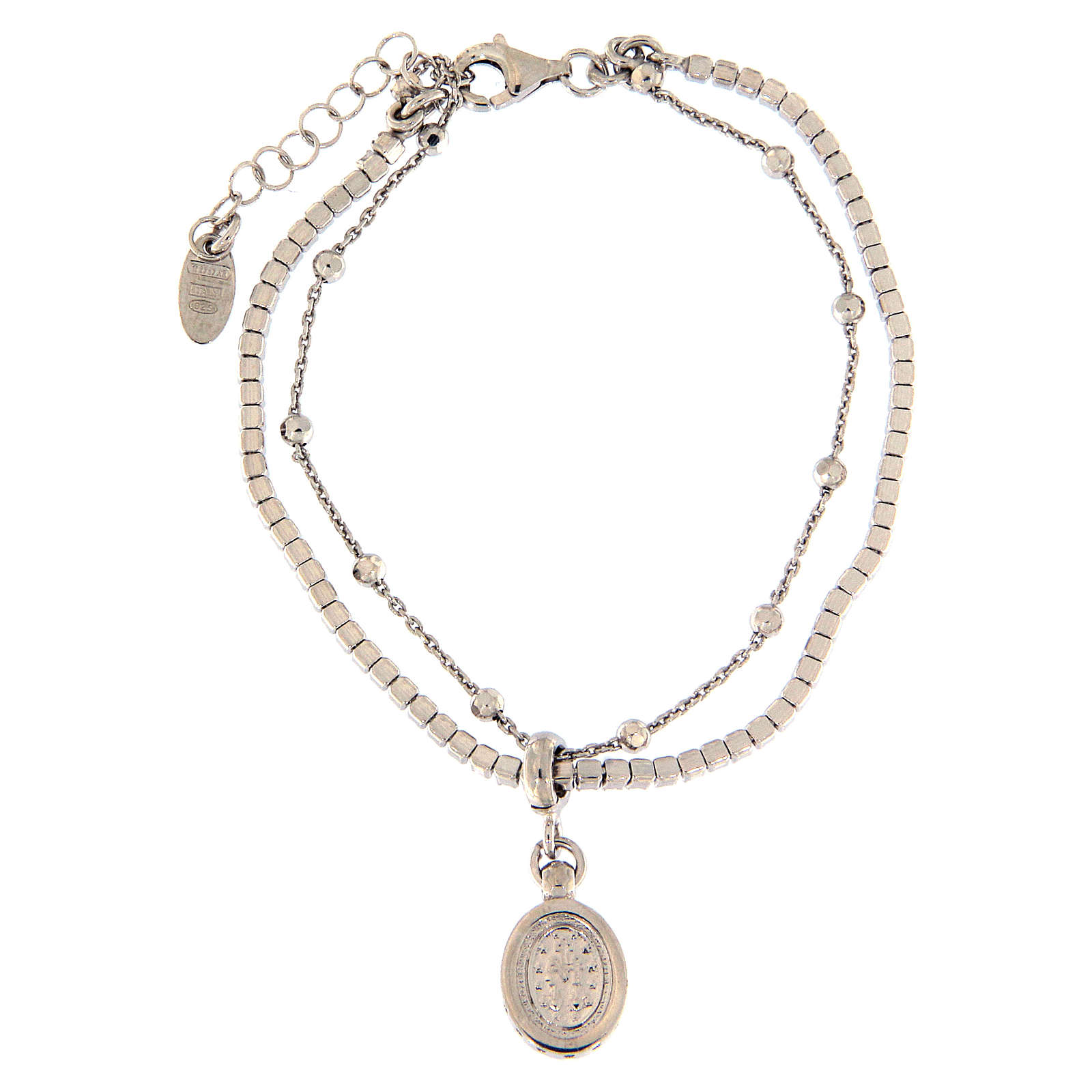 AMEN bracelet in rhodium-plated 925 silver with white rhinestones and medal with Our Lady of Miracles 4