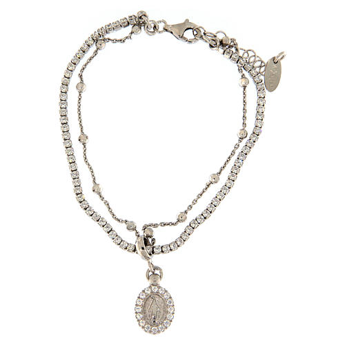 AMEN bracelet in rhodium-plated 925 silver with white rhinestones and medal with Our Lady of Miracles 1