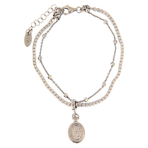 AMEN bracelet in rhodium-plated 925 silver with white rhinestones and medal with Our Lady of Miracles 2