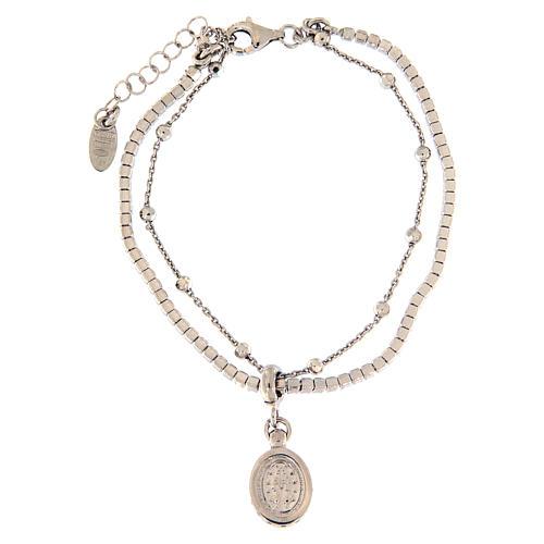 Pulseira AMEN prata 925 rodiada zircões brancos Medalha Milagrosa 2
