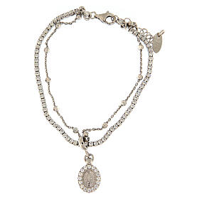 AMEN bracelet in 925 silver rhodium with white Mary medal s1