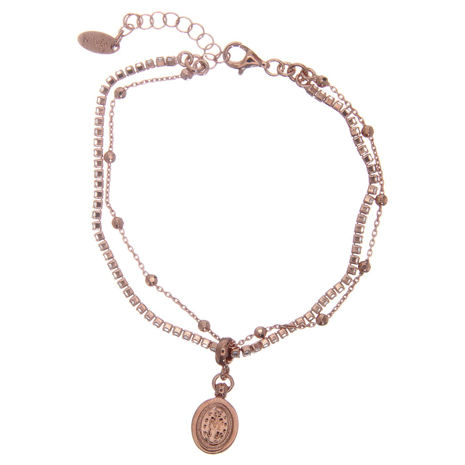 Bracelet AMEN argent 925 rosé zircons blancs Miraculeuse 4