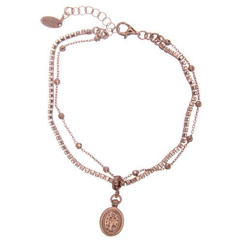 Bracelet AMEN argent 925 rosé zircons blancs Miraculeuse 2