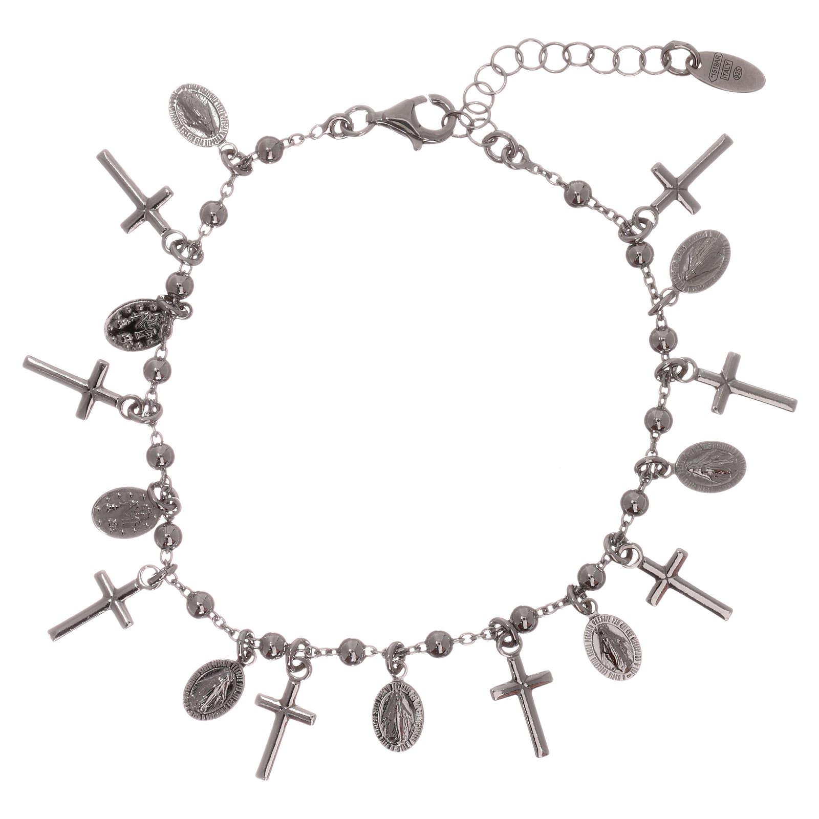 Bracelet AMEN argent 925 rhodié breloques croix Miraculeuse 4