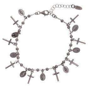 Bracelet AMEN argent 925 rhodié breloques croix Miraculeuse s1
