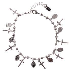 Bracelet AMEN argent 925 rhodié breloques croix Miraculeuse s2