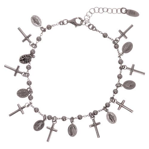 Bracelet AMEN argent 925 rhodié breloques croix Miraculeuse 1