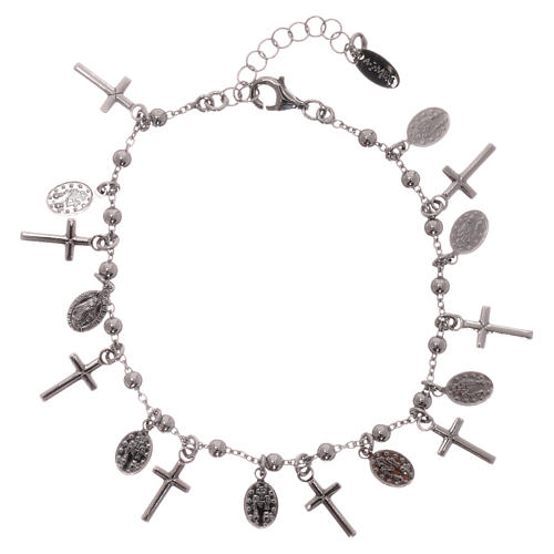 Bracelet AMEN argent 925 rhodié breloques croix Miraculeuse 2
