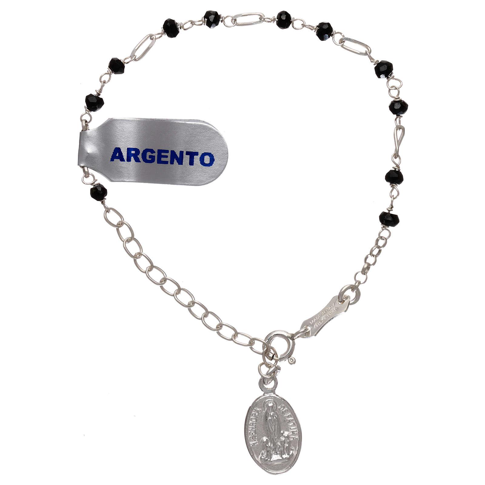 Bracelet argent 925 et zircons noirs 4