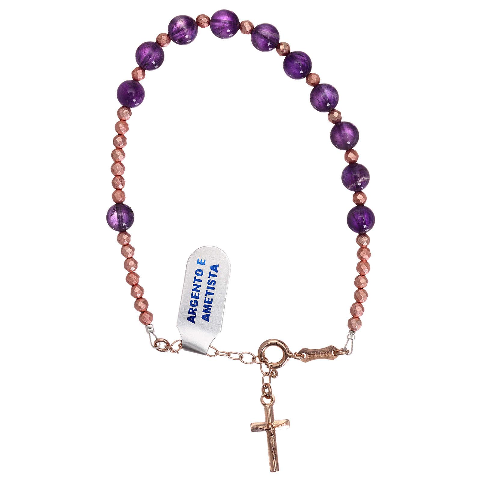 Bracciale croce argento 925 rosé e decina ametista 4